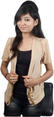 EEIA Party Short Sleeve Embellished Women's Beige Top