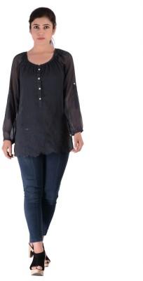 Fashnopolism Casual Full Sleeve Solid Women's Blue Top