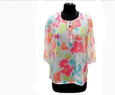 Eleganceranuka Casual 3/4 Sleeve Floral Print Girl's Multicolor Top