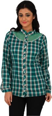 Moda Vastra Casual Full Sleeve Checkered Women's Green Top