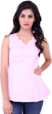 Fbbic Party Sleeveless Solid Women's Pink Top