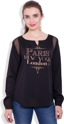 Pear Blossom Casual Full Sleeve Solid Women's Black Top