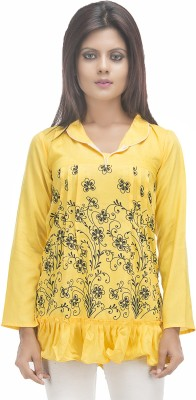 Retaaz Casual, Party, Festive Full Sleeve Floral Print Women's Yellow, Black Top