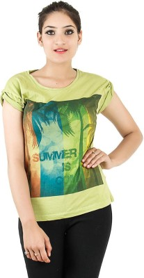 Opiumstreet Casual Roll-up Sleeve Printed Women's Light Green Top