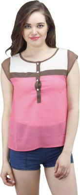 Osumfab Casual Short Sleeve Solid Women's Pink Top