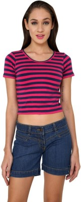 99Hunts Casual Short Sleeve Striped Women's Pink Top