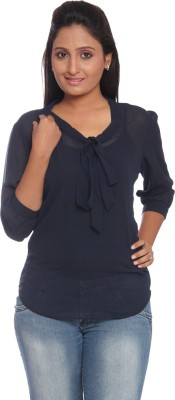 Park Avenue Formal 3/4 Sleeve Solid Women's Blue Top