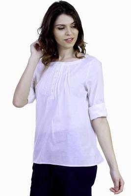 Caribbean Joe Beach Wear 3/4 Sleeve Solid Women's White Top