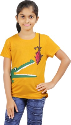 Ventra Casual Short Sleeve Printed Girl's Yellow Top