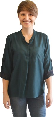 Onemm Casual Roll-up Sleeve Solid Women's Green Top