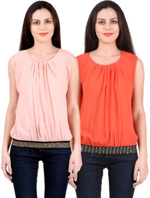 NumBrave Casual, Formal, Party Sleeveless Solid Women's Red, Orange Top