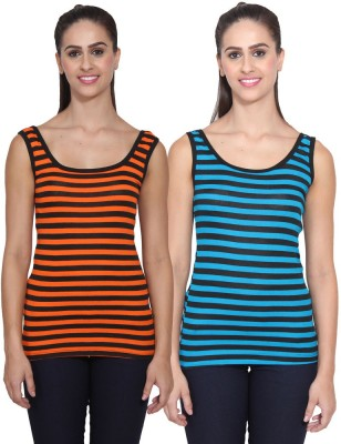 NumBrave Casual Sleeveless Striped Women's Multicolor Top