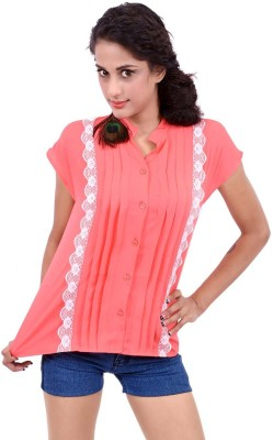 Palette Casual Short Sleeve Solid Women's Orange Top