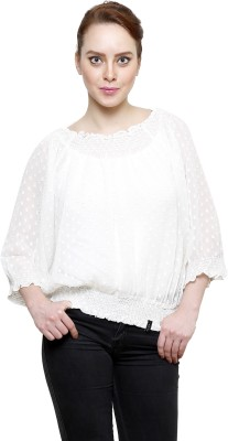 I Am For You Casual 3/4 Sleeve Self Design Women's White Top