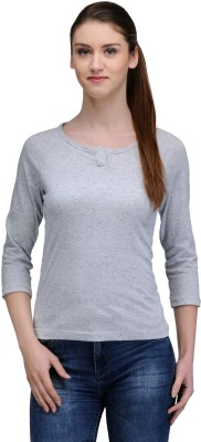 Trend18 Casual Full Sleeve Printed Women's Grey Top