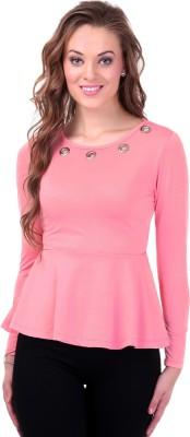 Sassafras Casual Full Sleeve Solid Women's Pink Top at flipkart