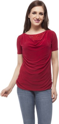 Peptrends Casual Short Sleeve Embroidered Women's Maroon Top