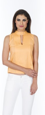 Lisova Casual Sleeveless Solid Women,s Orange Top