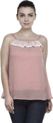 Kami Casual Sleeveless Solid Women,s Pink Top