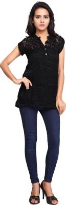 Cherryplus Casual, Party Short Sleeve Solid Women's Black Top