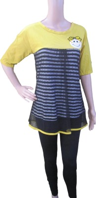 Aaradhya Boutique Casual 3/4 Sleeve Printed Women,s Yellow Top