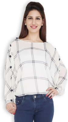 Free Spirited Casual Full Sleeve Printed Women's White Top