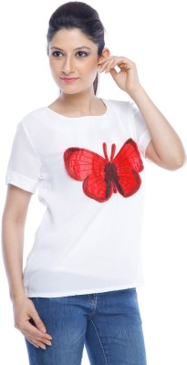 Designeez Casual Short Sleeve Embroidered Women's White Top