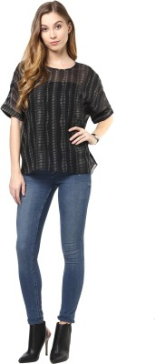 Color Cocktail Casual Bell Sleeve Printed Women's Black Top