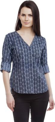 ORIANNE Casual 3/4 Sleeve Printed Women's Blue Top