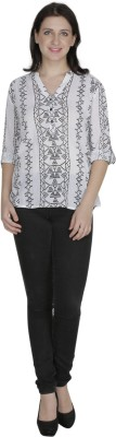 French Creations Casual Roll-up Sleeve Printed Women's White Top