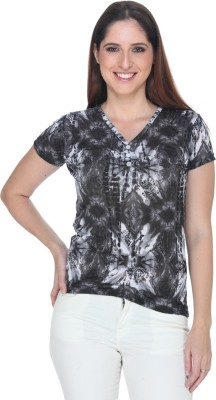 Fast n Fashion Casual Short Sleeve Printed Women's Grey Top at flipkart