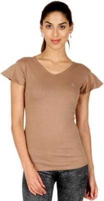 Adam n Eve Casual, Sports, Lounge Wear Short Sleeve Solid Women's Beige Top