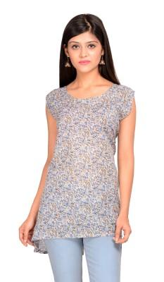 AKSHAT INTERNATIONAL Casual Sleeveless Printed Women's White Top