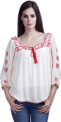MansiCollections Casual 3/4 Sleeve Embroidered Women's White Top
