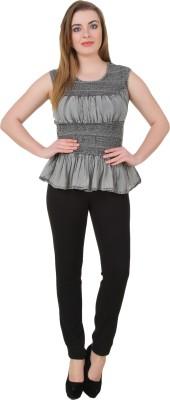 Petipack Casual Sleeveless Solid Women's Grey Top at flipkart