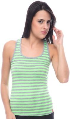 Virsa Casual Sleeveless Striped Women's Green Top