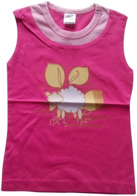 Mine Sparrow Casual Sleeveless Printed Baby Girls Pink Top