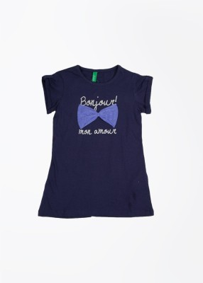 United Colors of Benetton Casual Short Sleeve Printed Girl's Blue Top