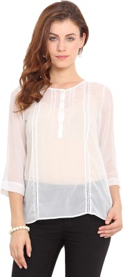 Paprika Casual 3/4 Sleeve Solid Women,s White Top
