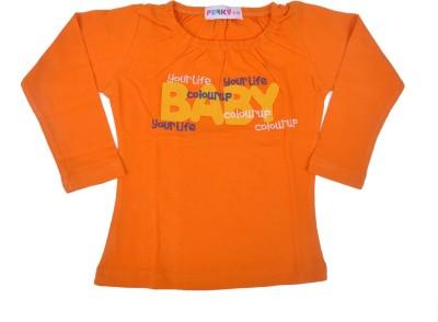Perky Casual Full Sleeve Printed Baby Girl,s Orange Top