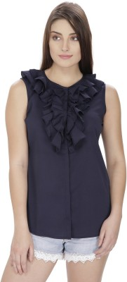 Pops N Pearls Casual Sleeveless Solid Women's Dark Blue Top