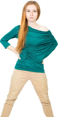 Dream of Glory Inc. Festive, Party Full Sleeve Solid Women's Dark Green Top