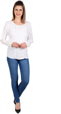 eyelet Casual, Party, Lounge Wear Full Sleeve Solid Women's White Top