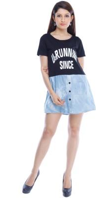Designeez Casual Short Sleeve Self Design Women's Black, Blue Top