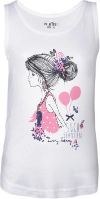 Gini & Jony Casual Sleeveless Printed Girl's White Top