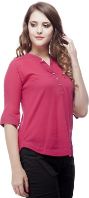 ORIANNE Casual 3/4 Sleeve Solid Women's Pink Top