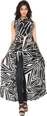 AATMIK Casual Sleeveless Printed Women's Black Top
