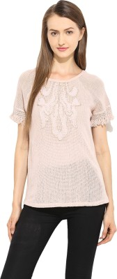 Free & Young Casual Short Sleeve Solid Women's Pink Top