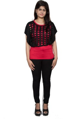 Tryonce Casual Short Sleeve Solid Women's Black, Pink Top