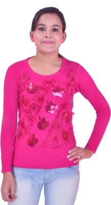 Krazzy Collection Festive Full Sleeve Self Design Women's Pink Top